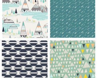 BUNDLE - Indian Summer - Arizona - Hello Bear - Art Gallery Fabrics - Mint Navy Tepee Western Boys
