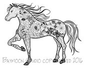 Prancing Horse Coloring Page, Printable Coloring Pages, Adult Coloring Pages, Digital Horse Illustration, INSTANT DOWNLOAD PRINT
