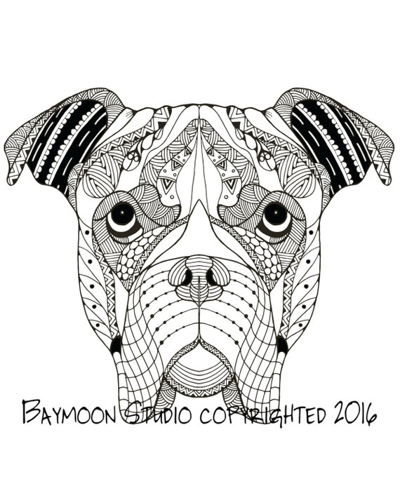 Boxer dog coloring page dog art printable by baymoonstudio for Printable boxer dog coloring pages
