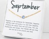 Septembre Pierre de naissance Swarovski saphir collier, bijoux de naissance collier en or, Collier or saphir, Pierre de naissance septembre