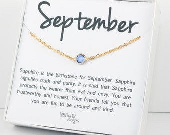 September Birthstone Sapphire Swarovski Necklace, September Birthstone Gold Necklace, Sapphire Gold Necklace, Birthstone Jewelry