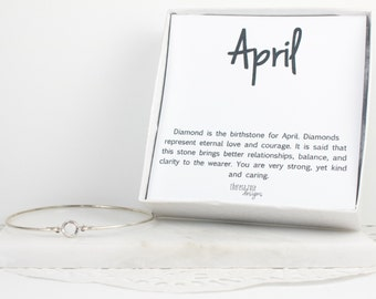 April Birthstone Swarovski Sterling Silver Bangle Bracelet, Crystal Sterling Silver Bracelet, Crystal Bracelet, April Birthday Jewelry