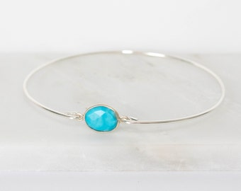 Turquoise Sterling Silver Bangle Bracelet, Sterling Silver Bracelet, Turquoise Silver Bangle, Turquoise Bangle Bracelet [#830]