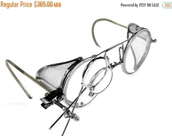 Steampunk Goggles Antique WILLSON Steam Punk Driving Glasses Mesh Side Shields Self ADJUSTING Bridge 2 Loupes MINT - Steampunk by edmdesigns