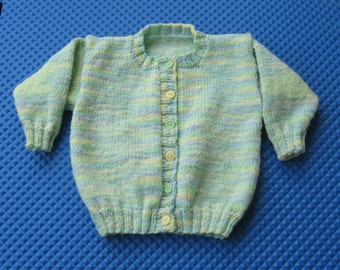 Handknit Green, Blue and Yellow Cardigan for Child