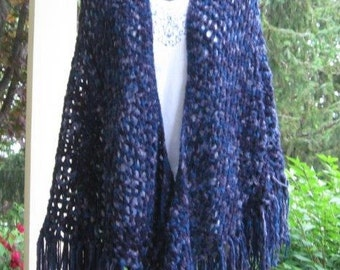 Shades of Purple Crocheted Triangle Shawl