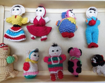 VINTAGE Crochet TOYS made in Shanghai Tiny DOLLS