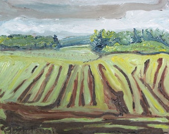 """Plein air Landscape Oil Painting Small Impressionist Country Field Farming Eastern Townships Quebec Canada By Fournier """" Plowed """" 10"""" x 12"""""""