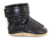 Soft Sole Black Leather Baby Boots Shoes 0 to 6 Month