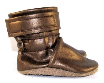 Soft Sole Gold Metallic Baby Boots 0-6 Month
