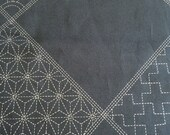 Preprinted Sashiko Six Squares Panel indigo navy blue Japanese cotton fabric
