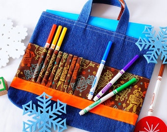 Crayon Tote • Crayon Bag • Coloring Bag • Art Tote • Crayon Holder • Crayon Roll • Ring Bearer • Busy Bag • Activity • ARTOTE • Mr. Roboto