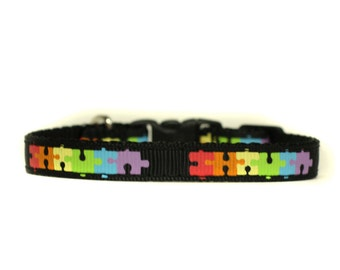 3/8 Wide Collar for Cat or Tiny Puppy in Puzzle