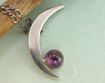 Amethyst Necklace, Sterling Silver Crescent Moon Necklace, Contemporary Jewelry, Metalsmith Jewelry, Amethyst Jewelry, Metalsmith Necklace