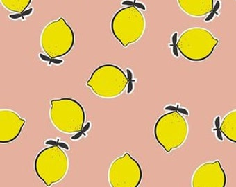 Novelty 2016 LEMONS in pink - by the YARD - by Kate Blocher for Riley Blake