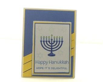 Hanukkah Card, Happy Hanukkah, Hope it's Delightful, Blue, Yellow and White Card, Menorah, Jewish Holiday Card, Happy Chanukah Card