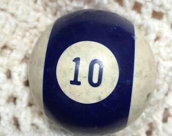 number ten 10 VINTAGE Billiard Ball Pool Ball   stripe  blue purple white   white old  kitsch home decor standard size