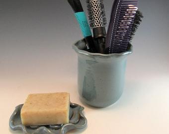 Bathroom Decor/Pottery Soap Dish and Hair Brush Holder Set/Bath Set/ Pottery Bathroom Set