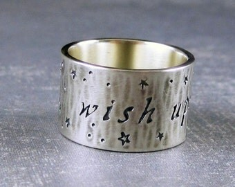 Wish upon a star ring, sterling silver ring, star ring, inscription ring, inspirational ring, word ring, hammered silver, engravable ring