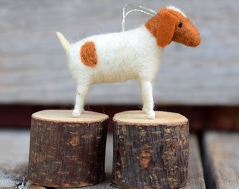 Goat in White - Needle Felted Christmas Ornament