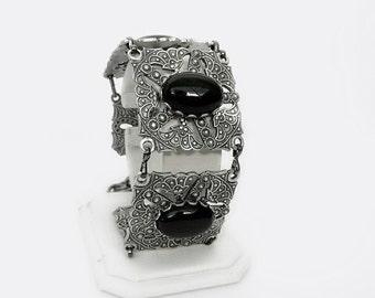 Gothic Bracelet Black onyx Bracelet Gothic Jewelry Silver Jewelry Onyx Jewelry Oxidized Silver Bracelet //Alternative Dark Fashion Aranwen