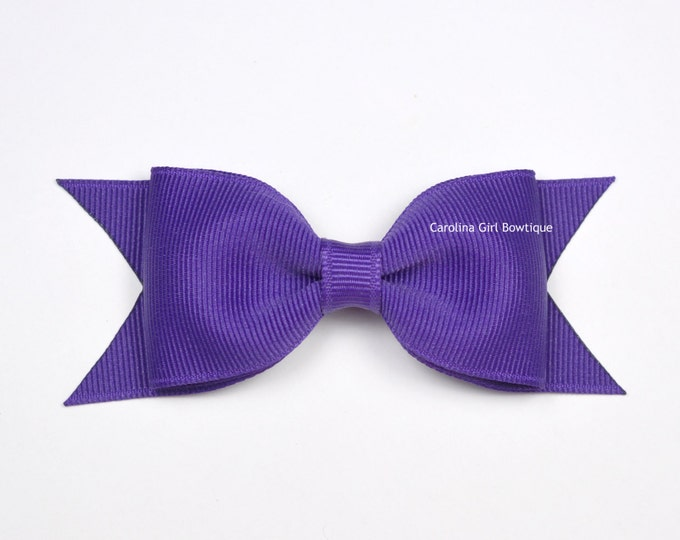 "Sugar Plum Tuxedo Bow ~ 3.5"" Hairbow ~ Small Hair Bow ~ Girls Barrette ~ Toddler Bow ~ Baby Hair Bow ~ Hair Clip ~ Girls Hair Bow"