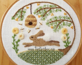 Summer Hare Crewel Embroidery Pattern and Kit