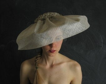 Free Shipping/U.S./Can.-Shibori Shade Hat No.35 women's soft grey sinamay straw hat with black crystals.