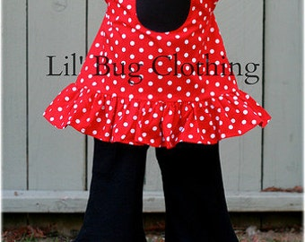Minnie Mouse Red White Polka Dot Outfit, Minnie Mouse Pillowcase Top & Pant Outfit, Boutique Girl Clothes