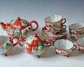 15 pc set Japanese Kutani Teapot, Sugar, Creamer, Cup & Saucer / rust orange / porcelain eggshell Geisha pattern