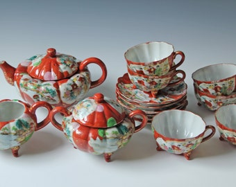 15 pc set Japanese Kutani Teapot, Sugar, Creamer, Cup & Saucer - rust orange - porcelain eggshell Geisha pattern