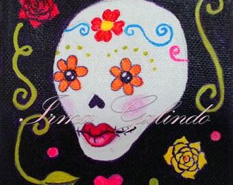 Sugar Skull Original Painting Flower Eyes (Dead of the Dead Series)