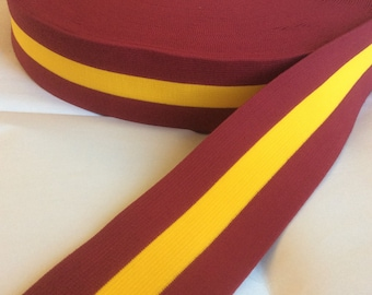 brick red and yellow gold extra wide striped elastic, 2 3/8 inches wide