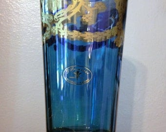 J Preziosi Lavorato A Mano SIX Handmade In Italy BLUE Glasses With Gold