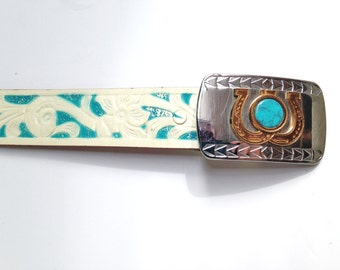 Western Belt Rockmount Ranch Wear Tooled Leather Belt Size S to M Double Horseshoe Made in Colorado Made in the USA Womens belt