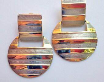 Post Modern Earrings VIntage 80s Earrings Silver and GOld Earrings Geometric Earrings boho Earrings