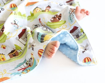 Baby Boy Blanket, Little Flyers Lovie, Security Blanket with Minky for Baby Boy Toddler Boy