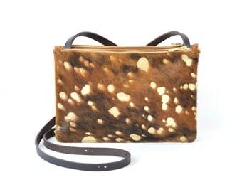Coralie - Handmade Hair On hide & Tan Leather Shoulder Bag Purse SS17