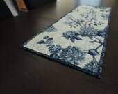 Quilted Table Runner Blue Toile Kitchen Decor Table Center Piece Quilted Table Setting Quilt Runner Contemporary Overlay Home Decor Dinner