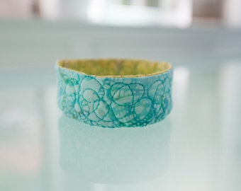 Jewelry Catcher Bowl Home Organization Yellow Ring Dish Quilted Trinket Bowl Aqua Blue Desk Accessory Under 20 Gift Fiber Art Gifts for Her