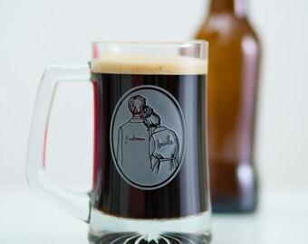 CUSTOM BEER STEIN/Bridesman/Man of Honor/Groom/glass beer stein