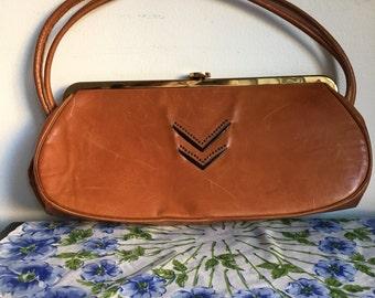 Vintage Leather Purse, Butterscotch Brown Handbag, 1940's Art Deco Style