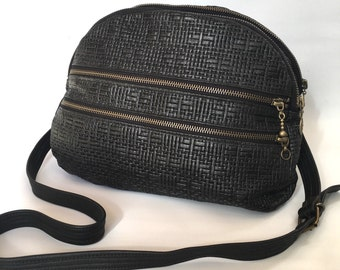 NEW AW13 double Leather bag // black basket weave embossed cow hide