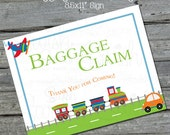 Baggage Claim sign - Planes, Trains Automobiles Printable Sign - INSTANT DOWNLOAD