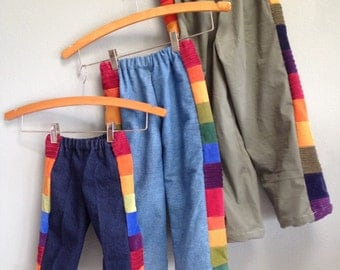 READY to SHIP...6 Youth Pants for Boys or Girls...baby  toddler.. rainbow corduroy patchwork and upcycled army green twill