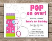 PRINTABLE Bubbles Invitation, Bubbles Party Invitation, Bubbles Birthday Invitation, Bubbles Invite, Bubbles Thank You Card