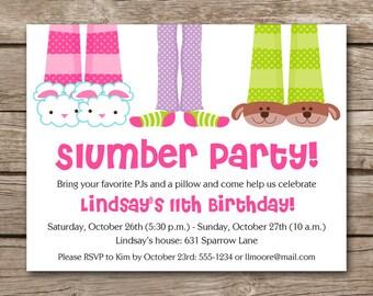 slumber party invitation slumber party birthday sleepover invitation sleepover birthday pj party - Sleepover Birthday Party Invitations
