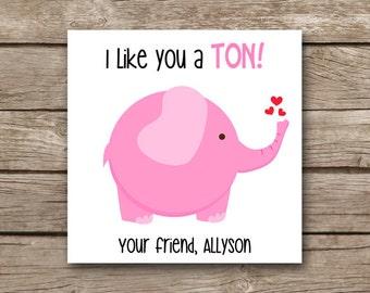 printable valentines day tag elephant valentine elephant tag elephant sticker favor - Elephant Valentine