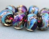 Boro Beads - Lampwork Beads - Handmade Glass Beads - Purple and Leopard Print
