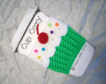 Cupcake CUP Cozy Choose Green Yellow Pink Sleeve  for HOT or COLD Drinks Sprinkles Cherry Ready To Ship